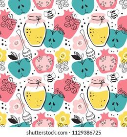 Rosh Hashanah (jewish new year) seamless pattern background design. Vector illustration