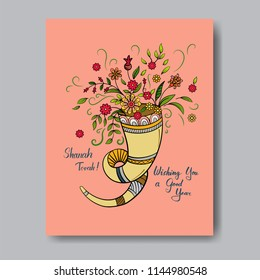 Rosh hashanah - Jewish New Year card template with shofar and flowers. Hand drawn vector illustration.