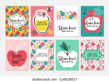 Jewish new year images stock photos vectors shutterstock rosh hashanah jewish new year greeting card design set hebrew text happy m4hsunfo
