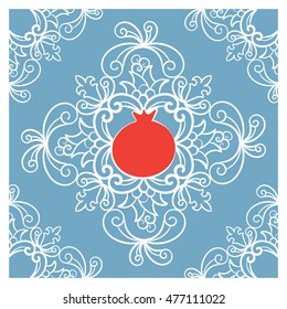 Rosh Hashanah - Jewish new year greeting card with red pomegranate . Hand drawn vector greeting card with white floral mandala on light blue background. Botanical vector ornament.
