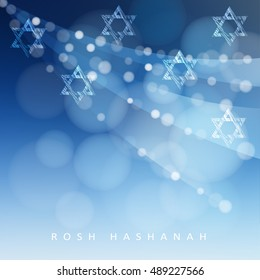 Rosh Hashanah, Jewish New Year holiday or Hannukah greeting card with lights and Jewish stars. Modern blurred vector illustration background