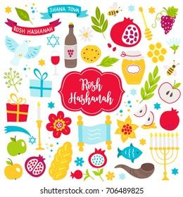 Rosh Hashanah Jewish New Year design elements. Honey, bee, apple, pomegranate, fish,wine, bread, honeycomb, dove, menorah, gift, plant, grape, bottle, glass, ribbon on white background.
