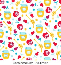 Rosh Hashanah Jewish New Year seamless pattern with honey, pomegranate, star on white background. Perfect for wallpaper and greeting cards