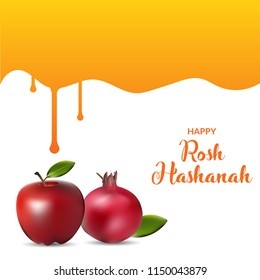 Rosh hashanah poster, greeting card and banner design illustration. jewish new year.
