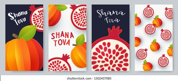 Rosh Hashanah Shana Tova Greeting cards Set. Design in minimalist modern style with symbols of the Jewish New Year, apple and pomegranate. Paper cut style. Template for advertising, web, social media