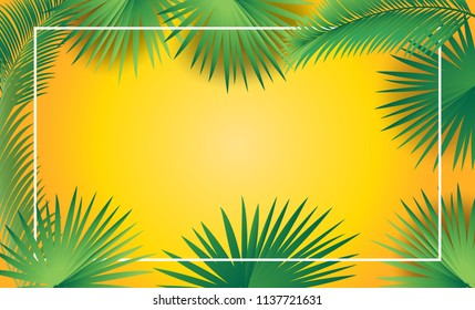 Rosh Hashanah and Sukkot greeting card border - Jewish New Year. Tropical festive palm leaves frame sukkah background for Rosh hashana, sukkot Jewish Holiday Israel fesival decoration Jerusalem, paper
