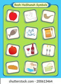 Rosh Hashanah Symbols - Rosh Hashanah cute and colorful holiday symbols. Eps10