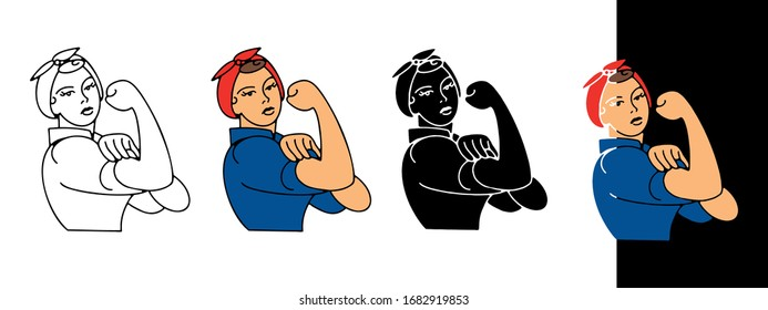 Rosie the riveter icon - outline, cartoon, glyph, colored and filled. Vector illustration, isolated on white and black background. Template for tee shirt print, poster, as design element, etc.