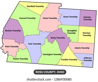Ross County Ohio map - vector map with townships