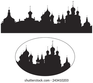 Rostov Kremlin Churches Russian Landmark vector silhouettes, Golden Ring of Russia, Rostov Velikiy, historical, cultural and famous tourism center