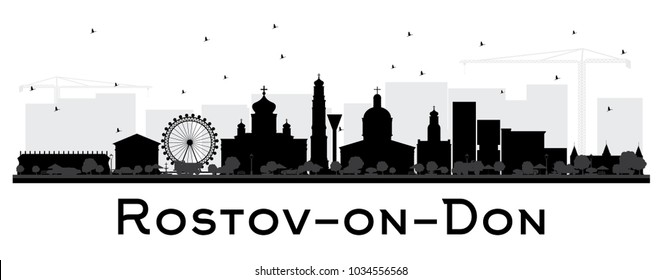 Rostov-on-Don Russia City Skyline Silhouette with Black Buildings Isolated on White. Vector Illustration. Travel and Tourism Concept with Modern Architecture. Rostov-on-Don Cityscape with Landmarks.