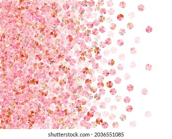 Rosy gold beads confetti placer vector illustration. Rhythmic gymnastics dress sequins background. Glamour shiny bead elements party decoration. Theater costume paillettes.
