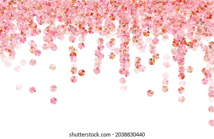 Rosy gold beads confetti placer vector background. Wedding invitation card background. Circle sparkling foil elements party decoration. Romantic bridal confetti texture.