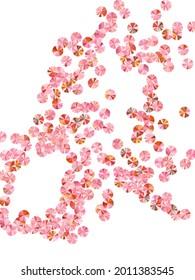 Rosy gold foil confetti placer vector composition. Valentine's day background design. Festive shimmering bead particles party decor. Romantic love valentine confetti.