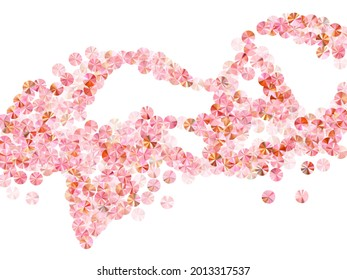 Rosy gold tinsels confetti placer vector composition. International Women's Day March 8th card background. Glamour glossy bead particles holiday decoration. Confetti for Mother's day.
