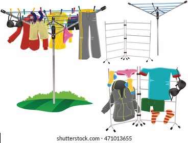 Rotary clothes drier and clothes horse.