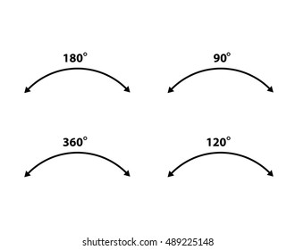 Rotate arrow icon, 90, 120, 180, 360 degrees - vector illustration.