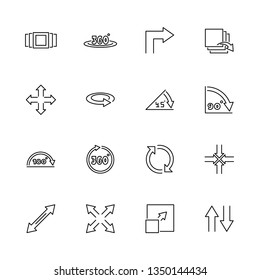 Rotate Arrows outline icons set - Black symbol on white background. Rotate Arrows Simple Illustration Symbol - lined simplicity Sign. Flat Vector thin line Icon - editable stroke