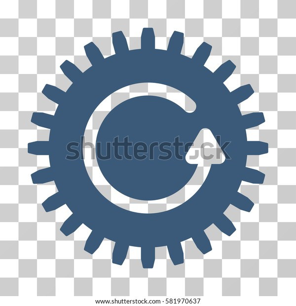 Rotate Cog vector icon. Illustration style is a flat iconic blue symbol on a transparent background.