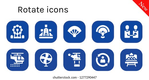 rotate icon set. 10 filled rotate icons. Simple modern icons about  - Ferris wheel, Windmill, Fan, Change, Helicopter, Rotate, Artboard