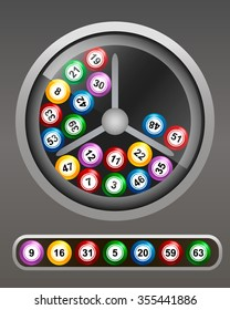 Rotate the lotto drum with bingo balls.  Vector illustration