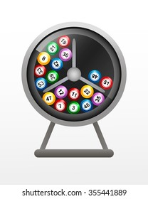 Rotate the lotto drum with bingo balls. Lottery counter. Vector illustration