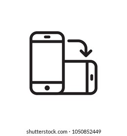 rotate phone, change screen orientation outlined vector icon