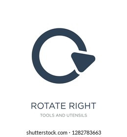 rotate right icon vector on white background, rotate right trendy filled icons from Tools and utensils collection, rotate right vector illustration