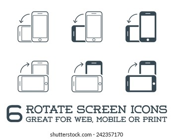 Rotate Smartphone or Cellular Phone or Tablet Icons Set in Vector