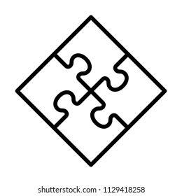 Rotated square four pieces of jigsaw puzzle or teamwork concept line art vector icon for apps and websites