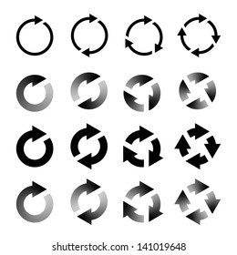 Rotating Arrows Set. Refresh, Reload, Recycle Sign. Vector Illustration