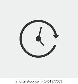 Rotating clock vector icon illustration sign