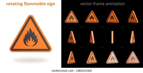 Rotating flammable sign. Vector sequence of frames for GIF, flash, web animation. Looped motion. 12 frames per second. Sprite sheet. 3D animated icon of fire danger. Set of orange triangular stickers