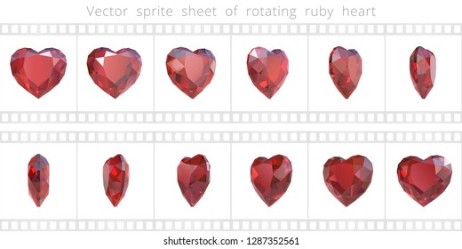 Rotating luxury ruby heart. Vector sprite sheet. Animated crystal Valentine. 12 frames per second. Refined sequence for GIF, flash and HTML animation. Set of 3d realistic gemstones. Isolated clipart