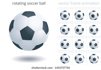 Rotating soccer ball. 3d realistic vector object. Sequence of frames for GIF, flash, CSS animation. Looped spin. 12 frames per second. Sprite sheet. Animated icon of a football equipment. Set of balls
