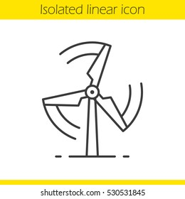 Rotating windmill linear icon. Thin line illustration. Wind eco energy contour symbol. Vector isolated outline drawing