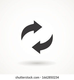 rotation arrow icon refresh. cyclic arrows refund vector icon. update graphic symbol Vector Illustration