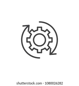Rotation arrows and gear outline icon. linear style sign for mobile concept and web design. Update Settings, preferences simple line vector icon. Symbol, logo illustration. Pixel perfect vector