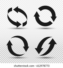 Rotation arrows icon set. Vector illustration EPS 10. Isolated on transparent background