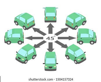 Rotation of the coupe car by 45 degrees. Compact car in different angles in isometric.