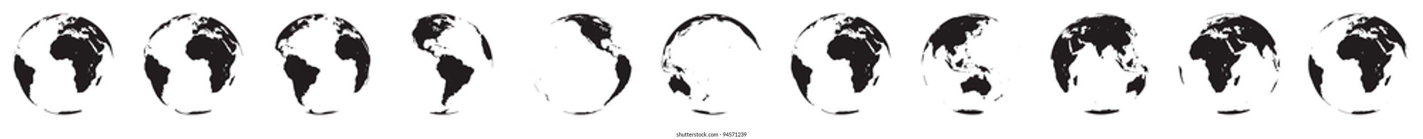 rotation of the globe as a vector file. Isolated on white background. Eleven positions.