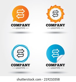 Rotation icon. Repeat symbol. Refresh sign. Business abstract circle logos. Icon in speech bubble, wreath. Vector