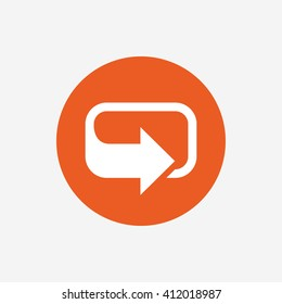 Rotation icon. Repeat symbol. Refresh sign. Orange circle button with icon. Vector
