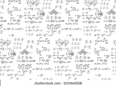 Rotation. Mathematical formulas, physical equations and outlines on white board. Vector hand-drawn seamless pattern. Retro scientific and educational background.
