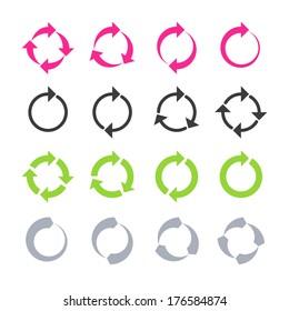 Rotation, reload, refresh, circle, cycle arrow signs. Vector.