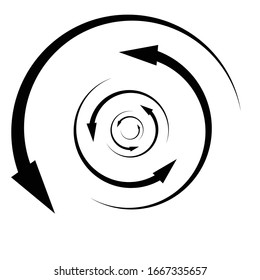 Rotation, revolve, torsion concept circular arrow illustration. Radial, radiating spiral, whirl, twirl of pointers. Arrows for circulation, recycle, recovery concept s