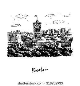 Rotes Rathaus (Red City Hall), Berlin, Germany. Vector hand drawn sketch.