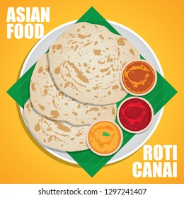 Roti canai, also known as roti cane or roti parotta, is an Indian-influenced flatbread dish found in several countries in Asia.