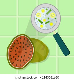 Rotten and spoiled watermelon. Contaminated watermelon. Microorganisms, virus and bacteria in the rotten and spoiled watermelon enlarged by a magnifying glass. Tiles in the background.