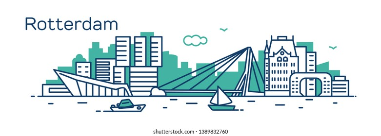 Rotterdam city. Modern flat line style. Vector illustration. Concept for presentation, banner, cards, web page